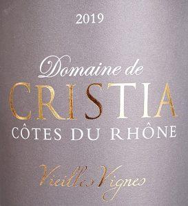 Etiket van een Cotes du Rhone Vieilles Vignes van Domaine de Cristia