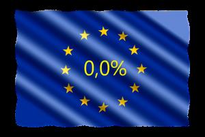 De Europese vlag met in het midden 0,0 % alcohol