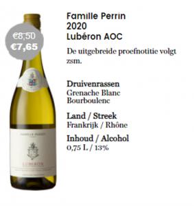 Fles met aanbieding witte wijn van Famille Perrin Luberon AOP normaal €8,50 nu €7,65