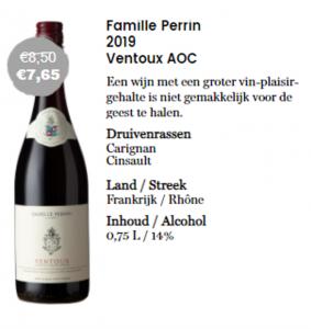 Fles met aanbieding rode wijn van Famille Perrin Ventoux AOP normaal €8,50 nu €7,65